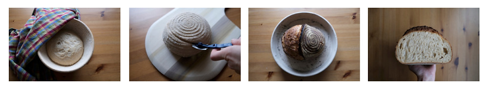 4 photos of the dough in the proofing basket, being slashed, baked and an interior crumb shot