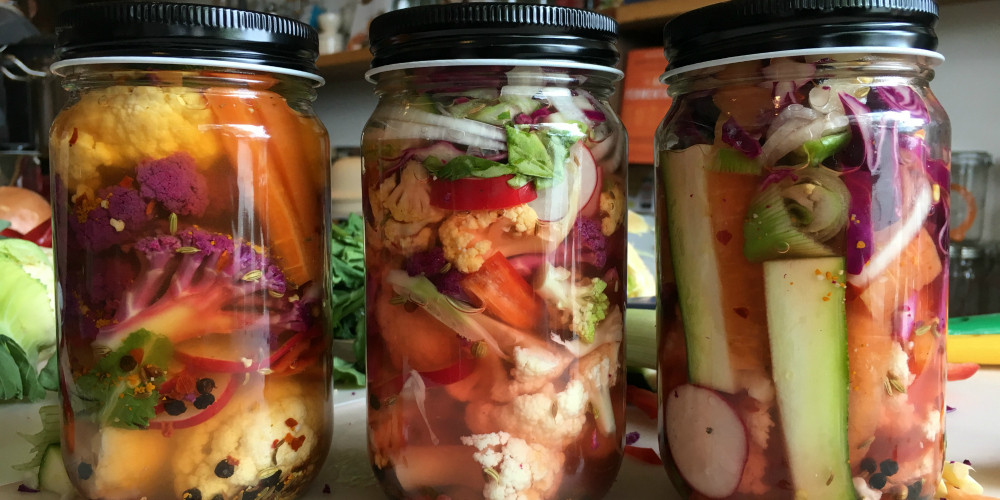 Mixed pickles in vinegar