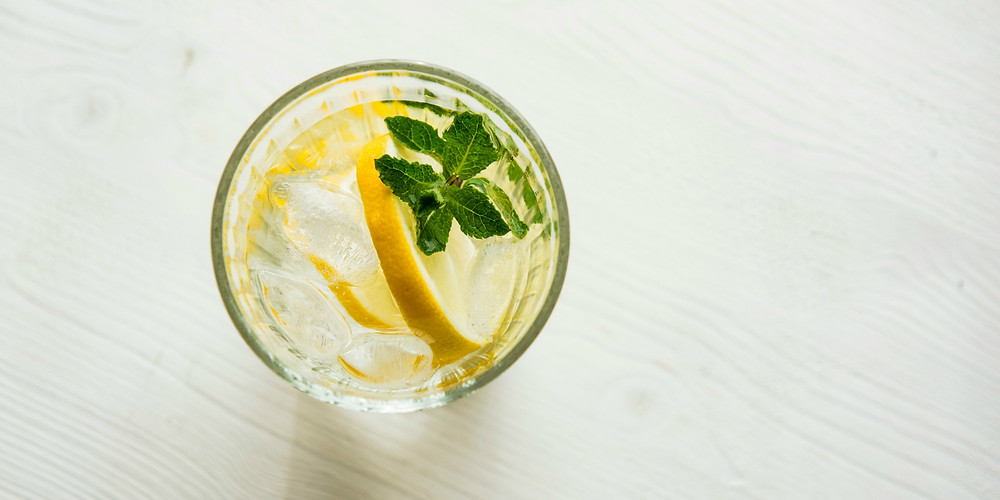 Glass of homemade ginger ale with a slice of lemon and fresh mint