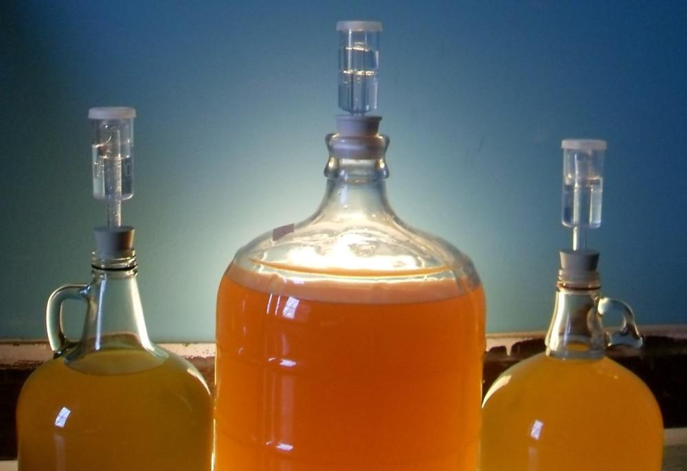 fermented honey mead bottles lined up