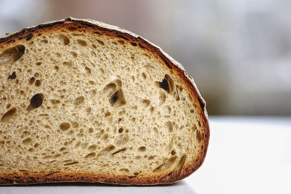 photo of interior crumb of a loaf of bread