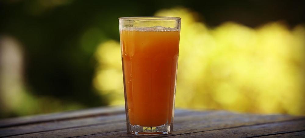 Glass of ginger turmeric kombucha