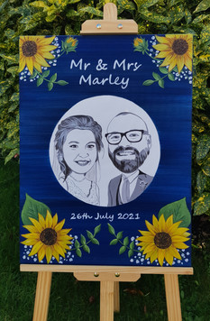 Hand painted wedding caricature sign