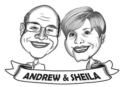 B&W Couples Caricature