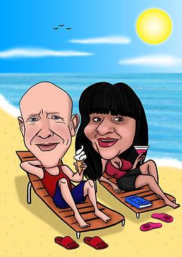Beach Couples Caricature