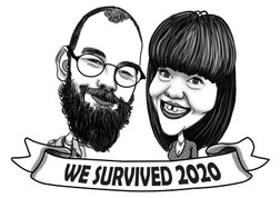 B&W Couple Anniversary Caricarture