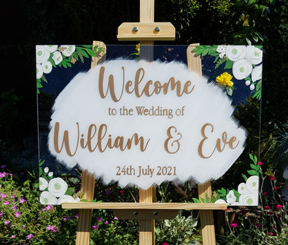 Hand Painted Acrylic Wedding Sign