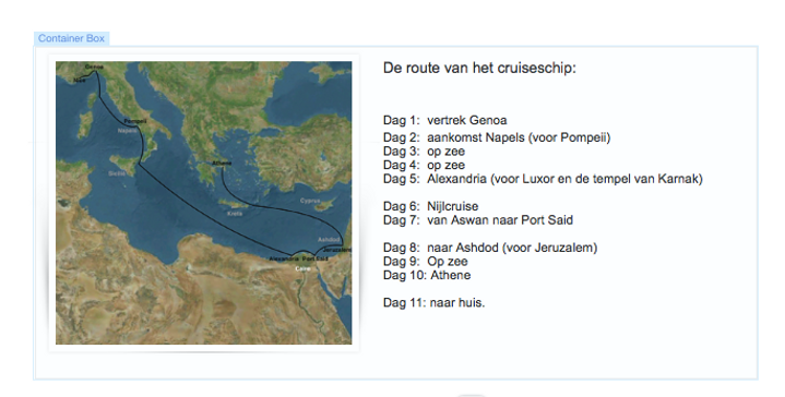 Route van Cruiseschip Een echte moeder.p