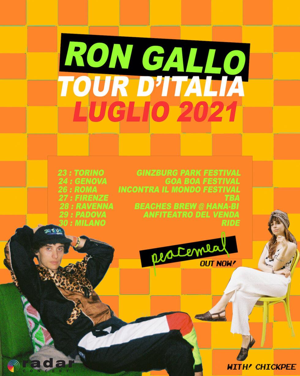 Ron Gallo, dopo l'uscita del suo nuovo album Peacemeal, torna in Italia con sette concerti a luglio: Torino, Genova, Roma, Firenze, Ravenna, Padova, Milano