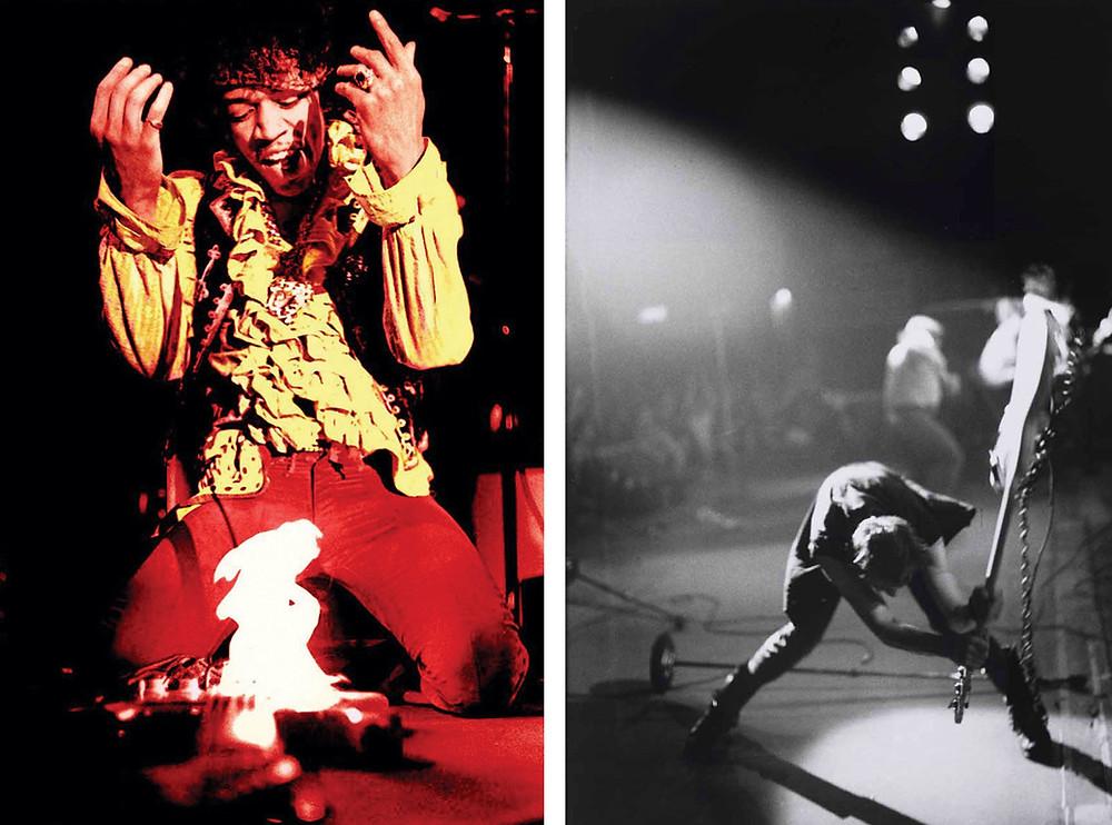 Jimi Hendrix fotografato dal fotografo musicale Ed Caraeff  e The Clash fotografati dalla fotografa musicale Pennie Smith