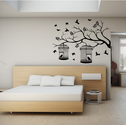 Vinilo Decorativo árbol con jaulas grandes (Dekoadhesivo)