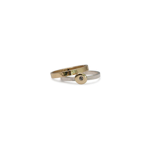Gold Dot Ring with Diamond
