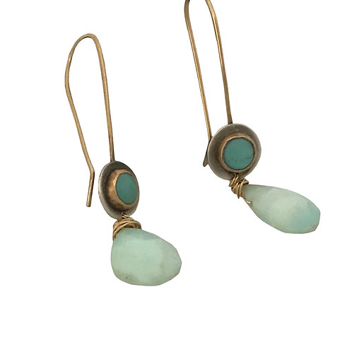 Turquoise and Peruvian Opal Earrings