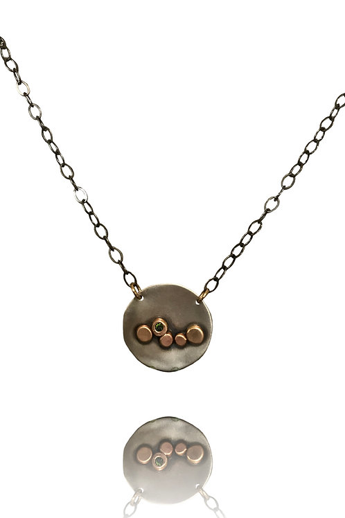 Argentium Silver with Bronze Dotsset with a Peridot