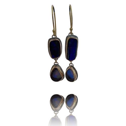 Australian Black Opal Earrings