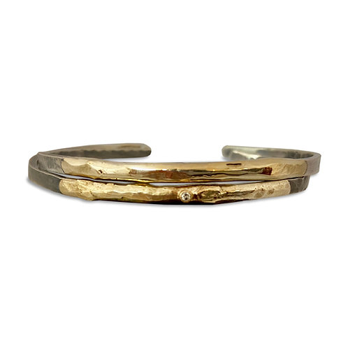 Sterling Silver Bangle with 14K Gold