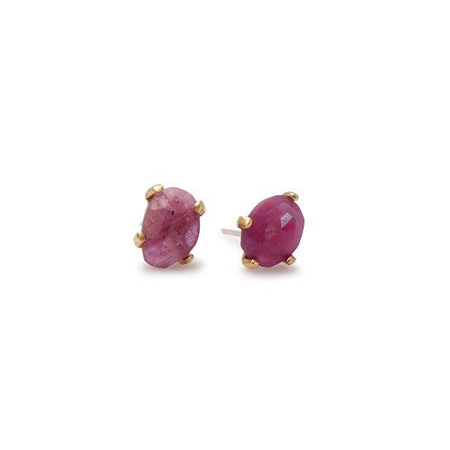 14K Post Earrings with Rubies