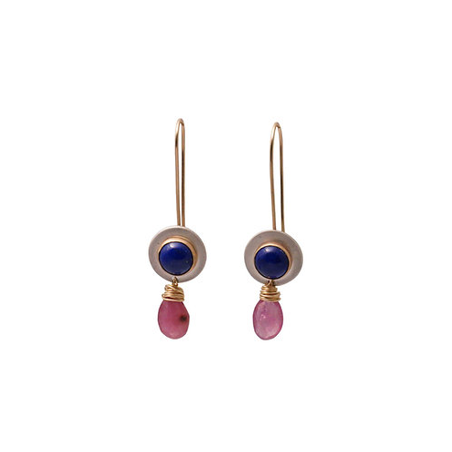 Lapis and Ruby Earrings