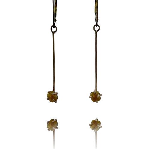 10K Gold Long Earrings set with Yellow Diamonds