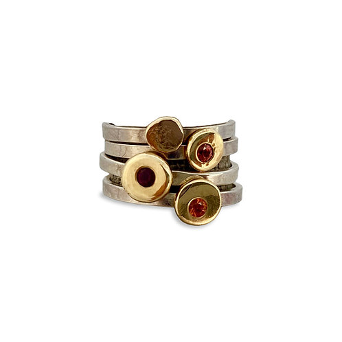 Gold Dot Ring with Red Sapphire