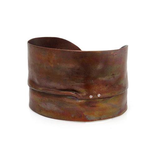 Copper Cuff set with two Semi-Precious Stones