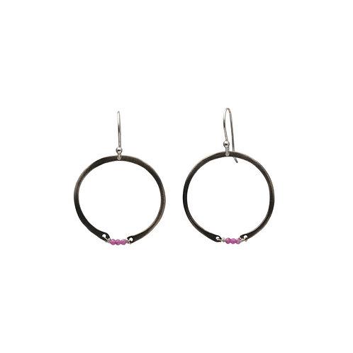 Hoop Earrings with Rubies or Turquoise