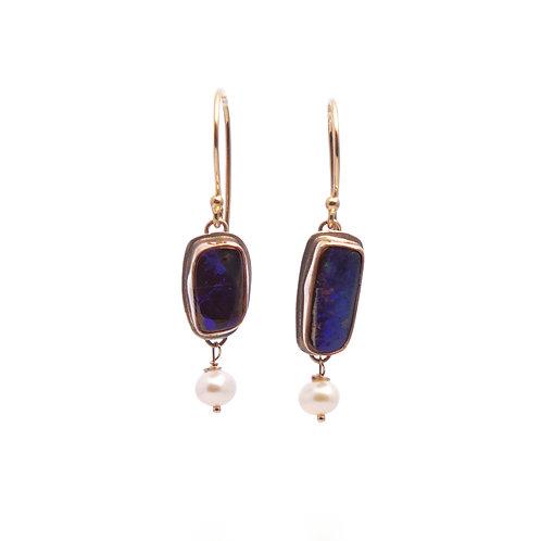 Australian Black Opal Earrings with Cultured Pearls