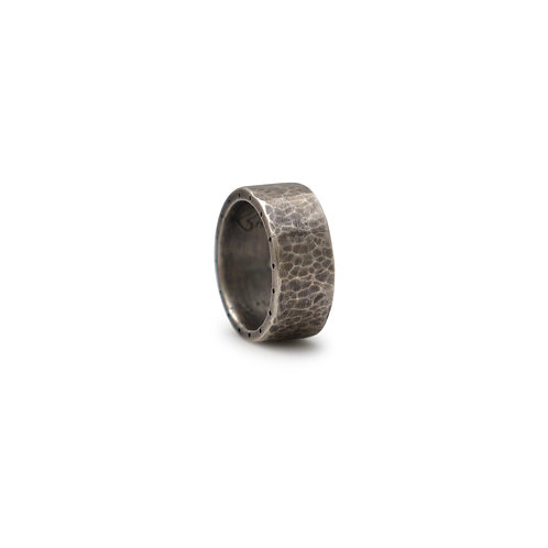 Sterling Silver Hammered Ring with Two Diamonds