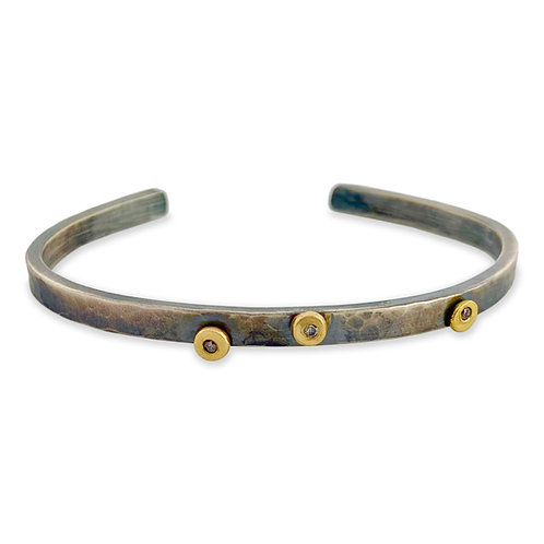 Sterling Silver Bangle with 3 14K Gold Dots set with Diamonds