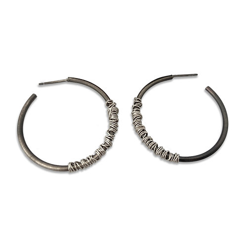 Sterling Silver Oxided Hoops wrapped with Silver Wire