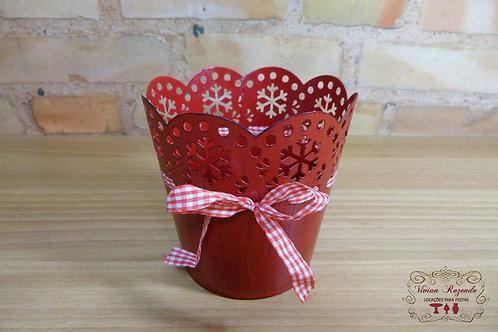 Cachepô - Mini Vaso - Vermelho - Metal