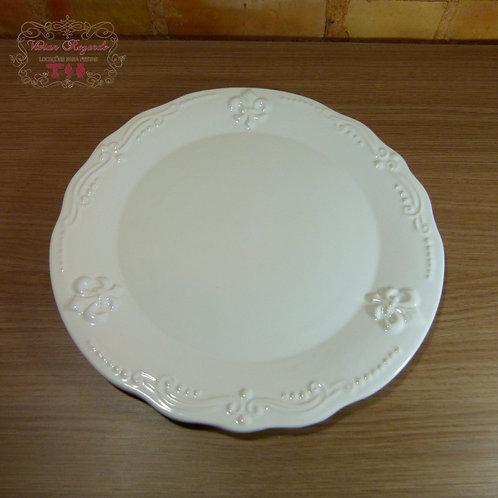 Bandeja - Branca - Redonda - Detalhes flor de liz