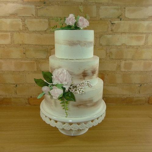 Aluguel de bolo fake branco rústico em curitiba