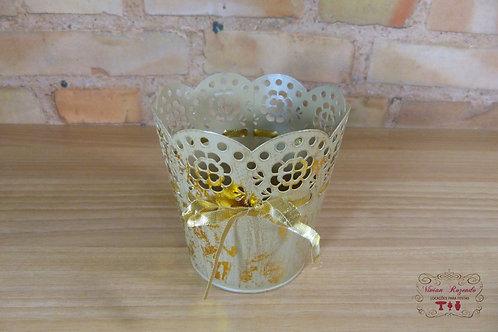 Cachepô - Mini vaso - Dourado - Metal