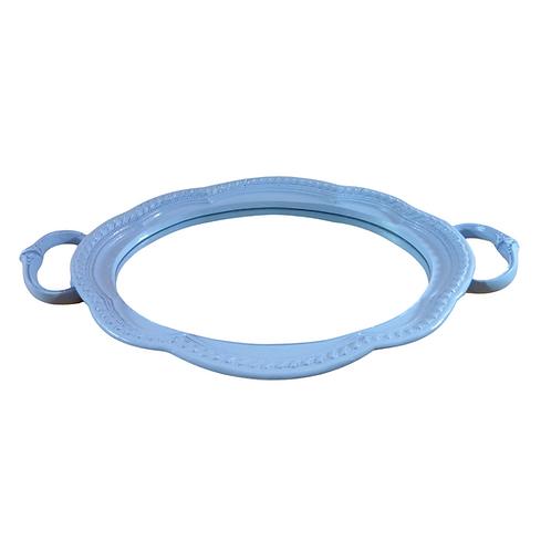 Bandeja - Azul Clara - Resina - Espelhada - Oval - Com Alça
