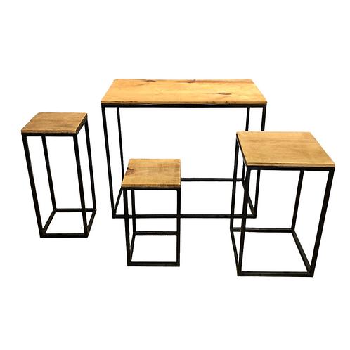 Kit Mesas - Cubo - Preto - 4 unidades