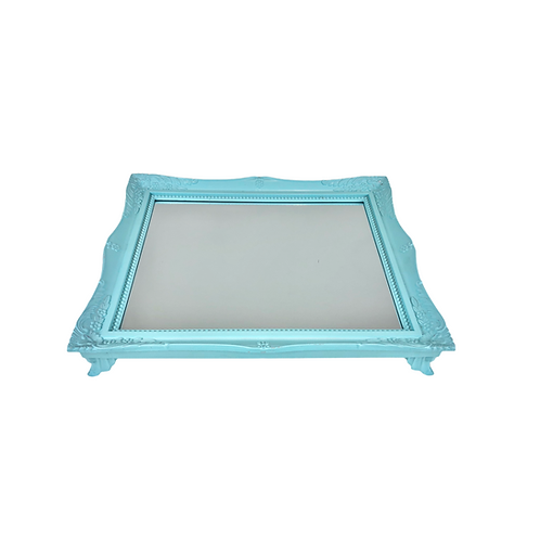 Bandeja - Azul Clara - Rococó - Espelhada