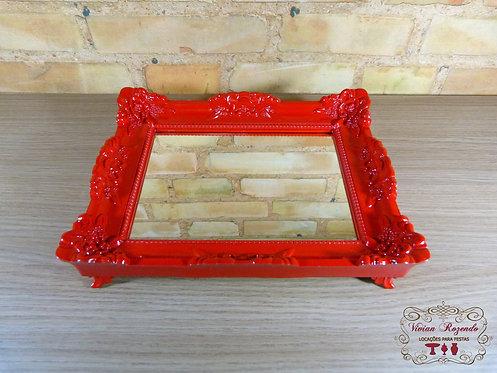 Bandeja - Vermelha - Rococó - Espelhada