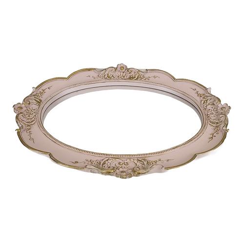 Bandeja - Rosa/Dourada - Clássica - Oval - Espelhada