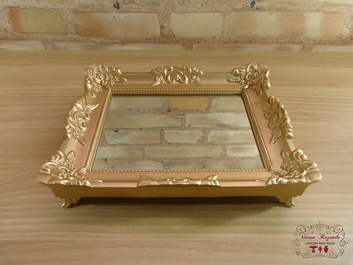 Bandeja - Dourada - Rococó - Espelhada
