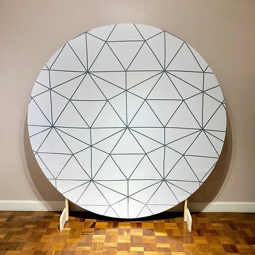 Painel - MDF crú - Com tecido Branco Geométrico