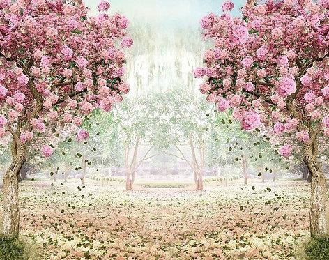 Painel - Sublimação - Tecido - 3D - Floresta Rosa - Infinity (suporte a parte)