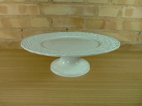 Boleira - Branca - Borda Floral - 37 cm