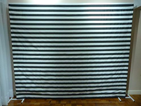 Painel - Tecido - Preto e Branco - Listrado (suporte a parte)