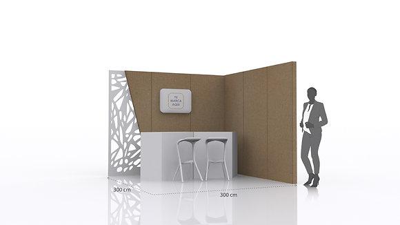 Stand con panel decorativo | Incluye paredes, mostrador  y espacio de exhibición