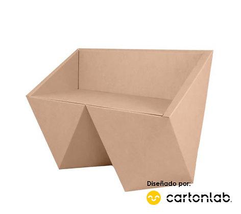 Banco modelo Faceta | Sillón de cartón de 2 plazas