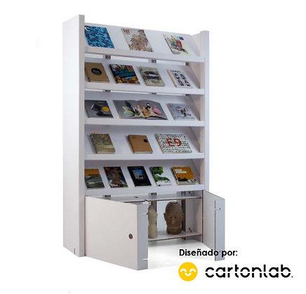 Expositor para libros, catálogos y revistas con armario de almacenaje