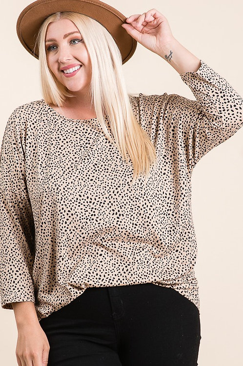 Reborn J Plus Leopard Print 3/4 Sleeve Top