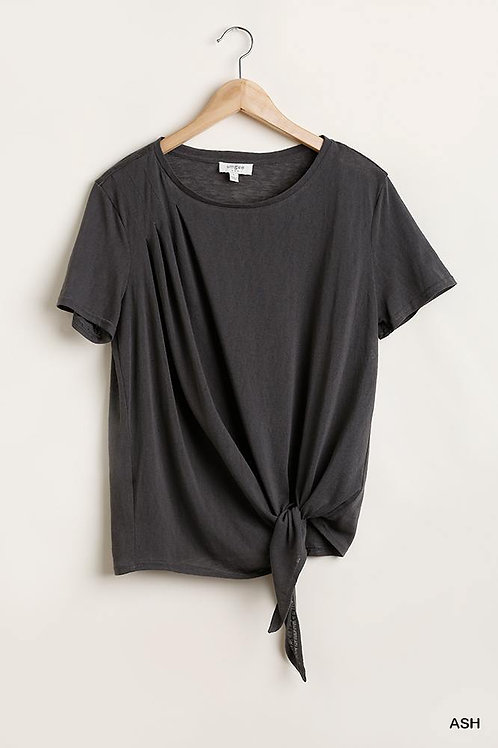 Umgee Flowy Fit Round Neck Top with Front Knot and Lining Detail