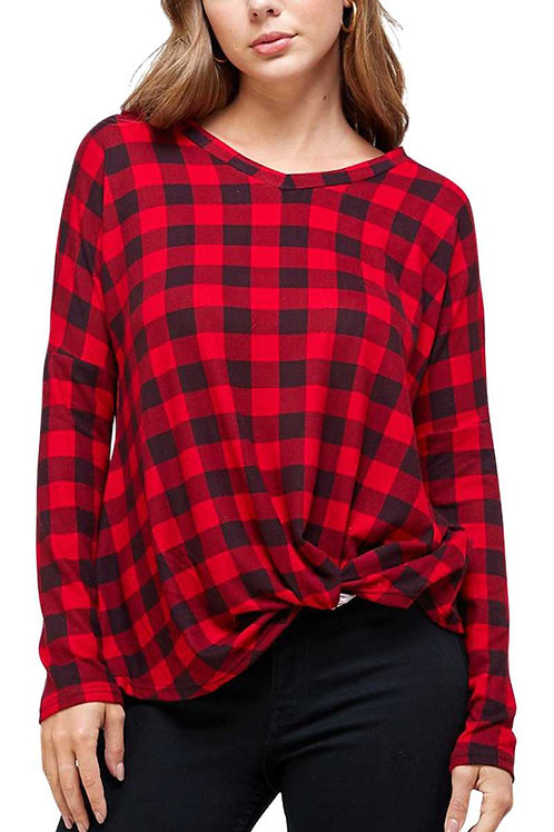 Plaid V Neck Front Knot Top